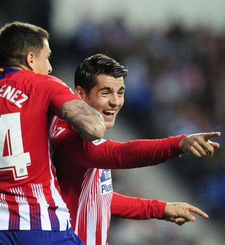 Morata celebra su primer gol ante la Real Sociedad.