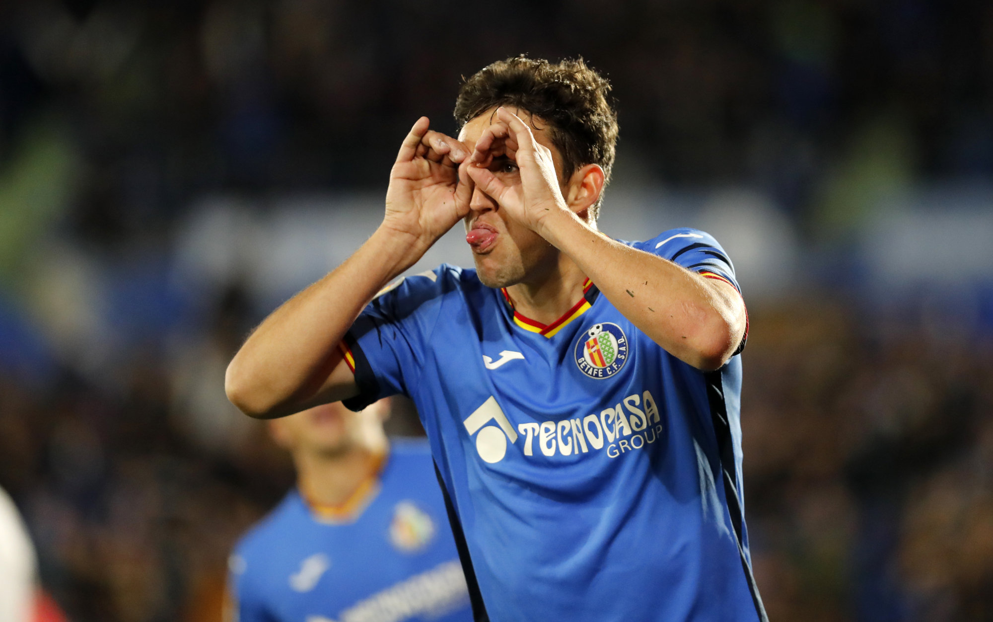 Jaime Mata celebra uno de sus dos tantos ante el Huesca.